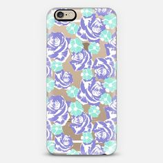 Lilac Turquoise Roses Cosmos Pattern iPhone 6 Case by Organic Saturation   Casetify