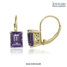 3ctw Genuine Amethyst Emerald-Cut Earrings in Sterling Silver - Assorted Finishes at 89% Savings off Retail!
