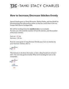 Knitting Decrease Stitches Evenly Calculator : 1000+ images about Knit & Crochet Tips & Tricks on Pinterest Knitti...