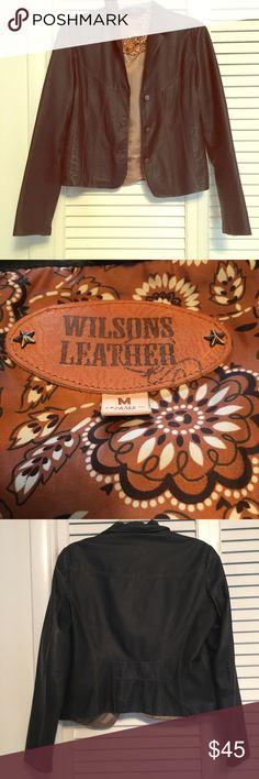 Wilsons Leather jacket Size Medium.  Has a few imperfections (see last photo for some cosmetic specks on upper back area) and the liner hangs a little low in the back (as seen in the 3rd and 4th photos).  Genuine leather.  Doesn't fit me as well as it used to.  Still has lots of life left in it! Wilsons Leather Jackets & Coats