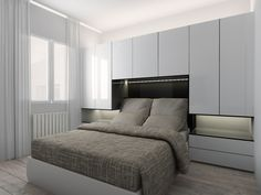 New Ideas bedroom wardrobe bed furniture Small Apartment Bedrooms, Small Room Bedroom, Trendy Bedroom, Small Rooms, Home Decor Bedroom, Small Spaces, Design Bedroom, Bedroom Ideas, Bed In Closet