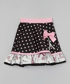 Another great find on #zulily! Pink & Black Polka Dot Bow Skirt - Infant, Toddler & Girls by Little Miss Fashion #zulilyfinds