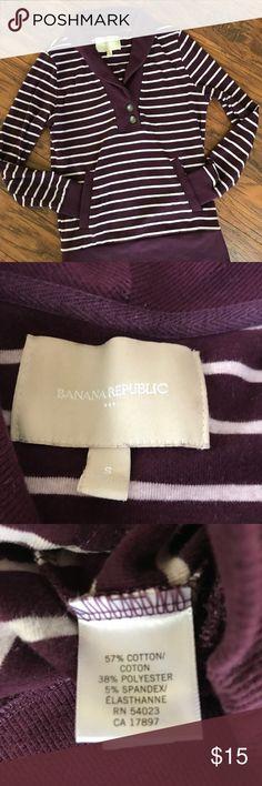 "Banana Republic Sweatshirt Burgundy and Cream striped Banana Republic sweatshirt.  Preloved but in good condition with plenty of life left.   Measures 18.5"" armpit to armpit, 23.75"" sleeve length, and 25"" length.  Smoke and pet free home. Banana Republic Tops Sweatshirts & Hoodies"