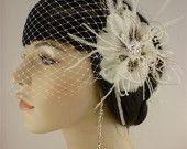 Bridal Feather Fascinator, Bridal Fascinator, Bridal Headpiece, Bridal Hair Accessories, Bridal Veil, White, Ivory and Black