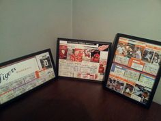 Favorite team ticket stub shadow boxes!! Great way to show off all the games you went to and spruce up a sport themed room!! :-)