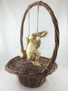 New Pottery Barn Bunny Rabbit in Swing Rimmed Basket Natural Straw Sisal Easter