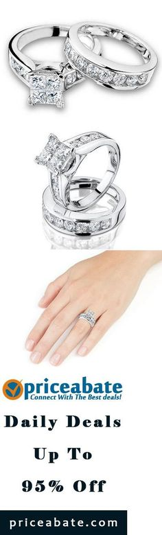 #priceabatedeals 1/2Ct Princess Cut Diamond Engagement Ring Wedding Set 10K White Gold - Buy This Item Now For Only: $449.0