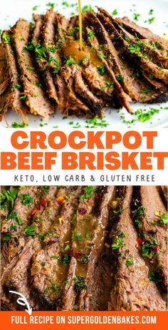 Slow Cooker Beef Brisket is cooked until the brisket turns wonderfully tender! Miso paste and fish sauce add wonderful flavor to the rich gravy – a winning Keto brisket recipe that's low carb and gluten free. Low Carb Soup Recipes, Pork Recipes For Dinner, Beef Soup Recipes, Italian Dinner Recipes, Easy Pasta Recipes, Healthy Crockpot Recipes, Game Recipes, Crockpot Meals, Snack Recipes