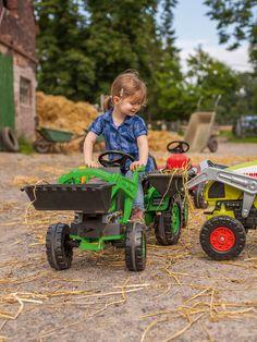 Traktor na šliapanie #Jim #Loader #BIG s nakladačom a prívesom zelený Baby Strollers, Pedal, Big, Children, Strollers, Awesome Toys, Presents, Tractor, Baby Prams