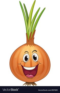 Onion vector image on Vegetable Drawing, Vegetable Cartoon, Cartoon Faces, Cartoon Drawings, Drawing For Kids, Art For Kids, Colorful Pictures, Cute Pictures, Mouse Crafts