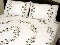 Bed Linen Manufacturers In India Bed Cover Design, Bed Linen Design, Bed Design, Hand Embroidery Flowers, Flower Embroidery Designs, Embroidery Patterns, Creative Embroidery, Simple Embroidery, Ribbon Embroidery