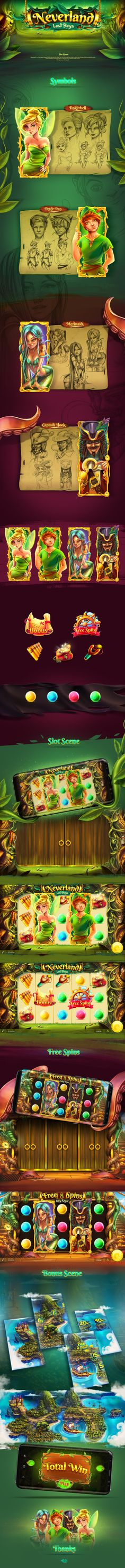 """""""Neverland"""" is a slot game inspired from the story for Peter Pan.It was challenge and inspiration to design every element of the game."""