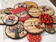 15 Round Chipboard Epoxy Button Embellishments with Journaling Tag and Coordinating Floss-Vintage Musical Birdie Set by The LemonDrop Tree, via Flickr