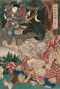Utagawa Kunisada I / Ushiwakamaru und Benkei auf der Gojobashi