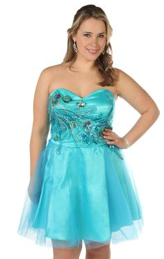 Plus size strapless party dress with corset bodice and a line skirt.