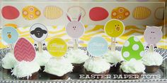 Easter paper tots - so cute - free download from kiki creates