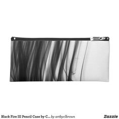 """Finally, something to write home about! The Black Fire III Pencil Case designed by Artist C.L. Brown features fire photography converted to black and white. Now you can keep all your pretty pens and pencils together in an even prettier case. Lined with black nylon and a full zipper closure, this case has it all sewn up in sturdy canvas. This product has been tested and is approved for ages 2+. Product dimensions are 9""""l x 4""""w. Made in Kansas City, Missouri, USA."""