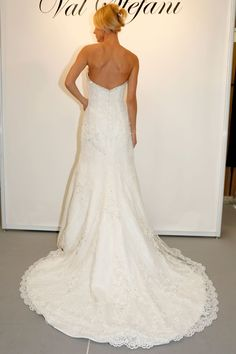 Val Stefani - Bridal Fall 2013    TAGS:Embroidered, Floor-length, Strapless, Train, Cream, Val Stefani, Jersey, Silk, Elegant