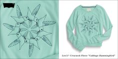 "Levi's® Crewneck Fleece ""Cabbage Hummingbird"""