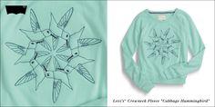 "Levi's® Crewneck Fleece ""Cabbage Hummingbird"""