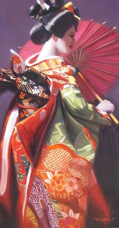 """""""Red Geisha Girl"""" by Takayuki Harada. Oil painting on Canvas, Subject: People and portraits, Photorealistic style, One of a kind artwork, Signed on the front, This artwork is sold framed, Size: 54.61 x 85.09 x 4.7 cm (framed), 21.5 x 33.5 x 1.85 in (framed), Materials: professional grade oil and brushes"""