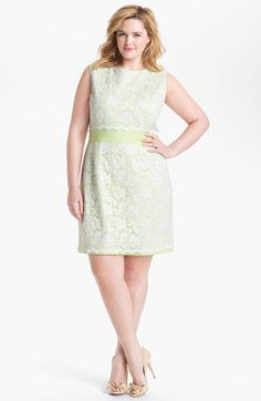 ABS by Allen Schwartz Lace Front Sheath Dress (Plus Size) available at #Nordstrom