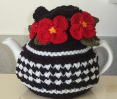Poppies and checks - hand knitted and crocheted small 2 cup tea cosy