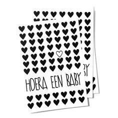 Kaartje zwart-wit Hoera een baby Leuk geboortekaartje in neutraal zwart-wit met tekst hoera een baby felicitatie feest geboorte zwanger zwangerschap