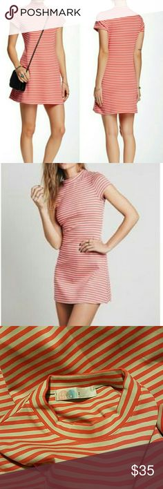 Free people on the line Ponte dress Pull over dress, red/orange and gray. Never worn, no tags Free People Dresses Mini