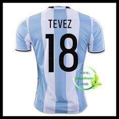 Billige Fotballdrakter Argentina TEVEZ 18 Hjemmedraktsett UEFA Euro 2016