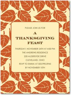 Thanksgiving Party Invitations Falling Foliage