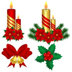 Illustration about Clipart, Christmas decor in vector. New Year candles with poinsettia flowers bells, leaves and holly berries. Illustration of candles, poinsettia, berries - 160418729 Christmas Flowers, Christmas Art, Christmas Decorations, Table Decorations, Christmas Ornaments, Holiday Decor, Holly Berries, Christmas Clipart, Poinsettia