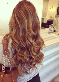 Long Wavy #Hairstyle Gorgeous Hair Color, Hot Hair Colors, Brown Hair Colors, Hair Color For Fair Skin, 2015 Hairstyles, Curly Hairstyles, Trendy Hairstyles, Layered Hairstyle, Hairstyle Men
