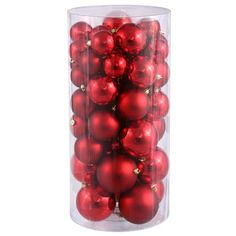 "50ct Red Hot Shiny & Matte Shatterproof Christmas Ball Ornaments 2.4""""-3""""-4"""""