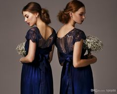 2014 Elegant Cheap Bridesmaid Dresses Dress Formal Gowns Chiffon Royal Blue Short Sleeves Ruffles Lace Long Backless Pageant Evening Dresses