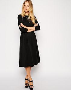 Image 1 ofASOS Midi Skater Dress in Texture