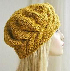Weekend Cable Beret Tam Hat Knitting Pattern by Julia Marsh on Ravlery Knit Or Crochet, Crochet Hats, Crochet Beret Pattern, Mittens Pattern, Double Pointed Knitting Needles, Knitted Beret, Easy Knitting, Easy Knit Hat, Knitting Daily