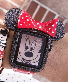 Image of Swarovski Dust Black glitter Mickey Mouse ears apple watch case size Disney Apple Watch Band, Apple Watch Bands, Iphone Watch, Iphone 7, Apple Watch Fashion, Rhinestone Crafts, Apple Watch Accessories, Phone Accessories, Accessoires Iphone