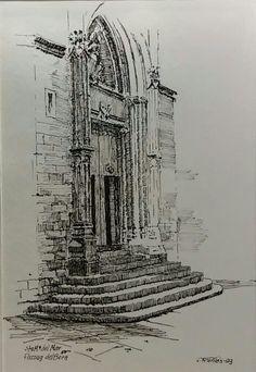 Santa Maria del Mar, Barcelona, by Joaquim Francés | Pen & ink Fall Drawings, Pencil Drawings, Ink Illustrations, Graphic Illustration, City Drawing, Drawing Stuff, Tinta China, Landscape Drawings, Urban Sketching
