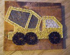 String Art Truck, Cement Truck String Art, Construction String Art, Construction Decor, String Art, Construction Wall Art, Truck String Art