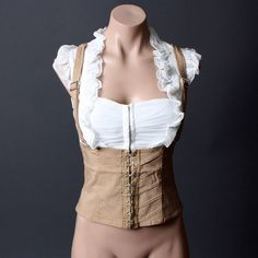 Casual Beige White Underbust Corset Style Ruffle Suspender Top Blouse found on Polyvore featuring polyvore, women's fashion, clothing, tops, blouses, ruffle blouse, frilly blouse, flounce tops, white blouse and corset style tops