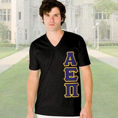 Alpha Epsilon Pi V-Neck T-Shirt - Vertical - American Apparel 2456 - TWILL