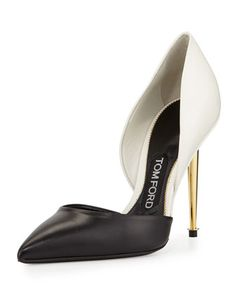 Bicolor+d\'Orsay+105mm+Pump,+Chalk/Black+by+TOM+FORD+at+Neiman+Marcus.