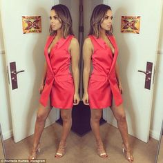 What a star! She looked stunning in a red tuxedo dress and Sophia Webster heels in a dress...