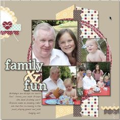 Family Scrapbook Page Layout -- I like the cluster of photos and patterned papers Recipe Scrapbook, 12x12 Scrapbook, Scrapbook Albums, Scrapbook Layout Sketches, Scrapbooking Layouts, Photo Layouts, Creative Memories, Card Candy, 4 Photos