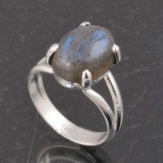 BLUE FIRE LABRADORITE 925 SOLID STERLING SILVER FASHION RING 4.20g DJR6387 #Handmade #Ring