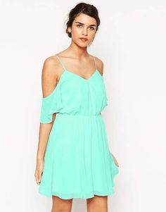 ASOS   Cold Shoulder Flutter Sleeve Skater Dress #Asos #dress