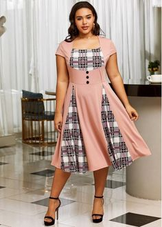 Plaid Short Sleeve Plus Size Dress Women's Fashion Dresses, Casual Dresses, Short Sleeve Dresses, Plaid Shorts, Plaid Dress, Dresser, Plus Size Vintage, Pink Outfits, Dress Silhouette