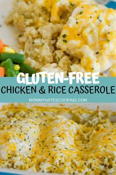 Make this delicious comfort meal with Cheesy Chicken and Rice Casserole that is gluten-free. It's the perfect gluten-free recipe. - Cheesy Chicken and Rice (Gluten-Free) - Mommy Hates Cooking Gluten Free Recipes For Dinner, Gf Recipes, Gluten Free Desserts, Dairy Free Recipes, Chicken Recipes, Healthy Recipes, Easy Gluten Free Meals, Gluten Free Recipes With Chicken, Protein Recipes