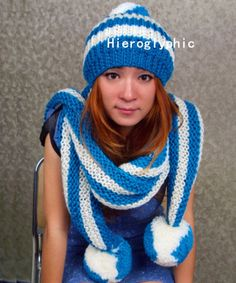 Photo of Knit  hat and scarf  made of chunky soft wool  Handmade  Winter Accessories Fall Fashion Ready to ship